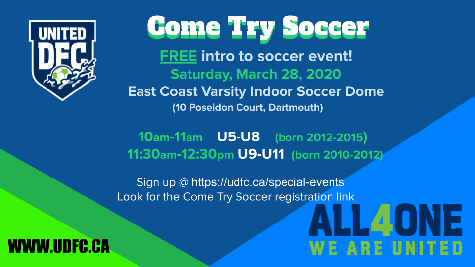 Come Try Soccer - March 28, 2020- POSTPONED